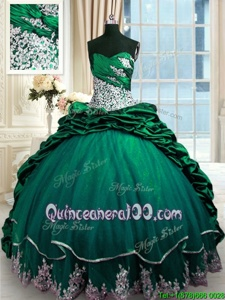 Free and Easy Pick Ups Dark Green Sleeveless Taffeta Brush Train Lace Up Vestidos de Quinceanera forMilitary Ball and Sweet 16 and Quinceanera