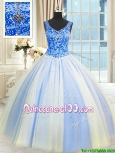 Smart Tulle V-neck Sleeveless Lace Up Beading and Sequins 15 Quinceanera Dress inMulti-color