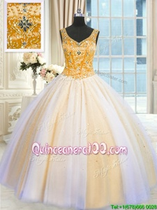 Fantastic V-neck Sleeveless Tulle Quinceanera Gowns Beading and Sequins Lace Up