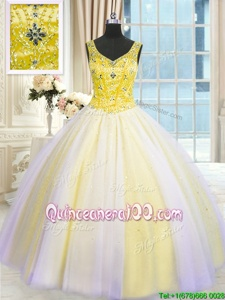 Traditional Multi-color Sleeveless Beading and Sequins Floor Length Sweet 16 Quinceanera Dress