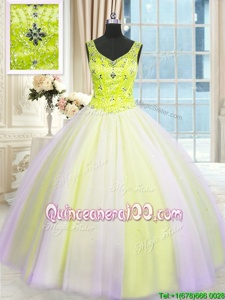 Inexpensive Sleeveless Lace Up Floor Length Beading and Sequins 15th Birthday Dress