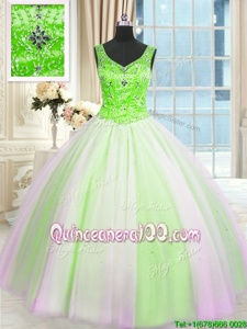 Glorious Sequins V-neck Sleeveless Lace Up 15 Quinceanera Dress Multi-color Tulle