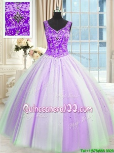 Graceful Multi-color Ball Gowns Beading and Sequins Sweet 16 Dresses Lace Up Tulle Sleeveless Floor Length