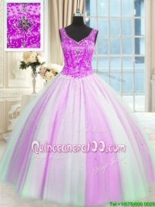 Fine Multi-color Tulle Lace Up Quinceanera Gowns Sleeveless Floor Length Beading and Sequins