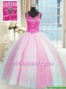 Cheap Baby Pink and Pink And White Tulle Lace Up V-neck Sleeveless Floor Length Quinceanera Dress Beading