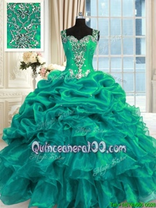 Pretty Turquoise Organza Lace Up Quinceanera Dress Sleeveless Floor Length Beading and Ruffles and Pick Ups