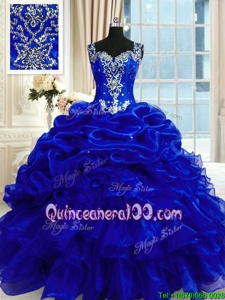 Discount Royal Blue Ball Gowns Organza Straps Sleeveless Beading and Ruffles and Pick Ups Floor Length Lace Up Quinceanera Dresses