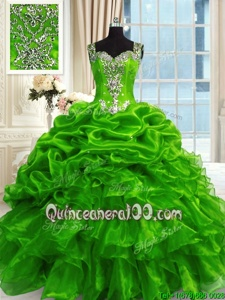 New Style Green Ball Gowns Beading and Ruffles and Pick Ups Quinceanera Dresses Lace Up Organza Sleeveless Floor Length