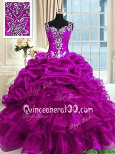 Comfortable Fuchsia Organza Lace Up Straps Sleeveless Floor Length Quinceanera Gown Beading and Ruffles and Pick Ups