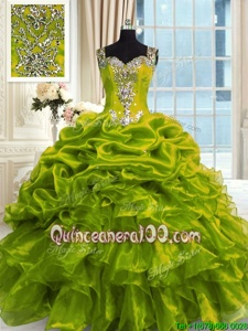 Olive Green Sleeveless Organza Lace Up Sweet 16 Dresses forMilitary Ball and Sweet 16 and Quinceanera