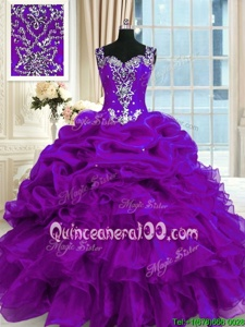 Custom Made Straps Sleeveless Sweet 16 Quinceanera Dress Floor Length Beading and Ruffles and Pick Ups Purple Organza