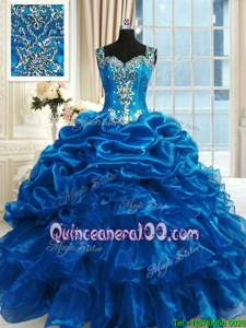 Sleeveless Floor Length Beading and Ruffles Lace Up Quince Ball Gowns with Blue