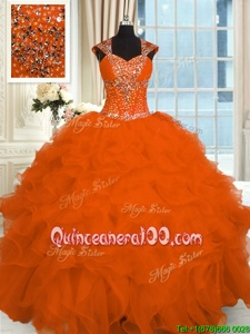 Attractive Straps Cap Sleeves 15 Quinceanera Dress Floor Length Beading and Ruffles Orange Organza