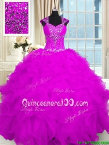Sophisticated Fuchsia Ball Gowns Straps Cap Sleeves Organza Floor Length Lace Up Beading and Ruffles 15th Birthday Dress