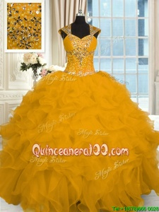 Best Floor Length Lace Up 15 Quinceanera Dress Gold and In forMilitary Ball and Sweet 16 and Quinceanera withBeading and Ruffles