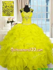 Sweet Ball Gowns Quinceanera Dresses Yellow Straps Organza Cap Sleeves Floor Length Lace Up