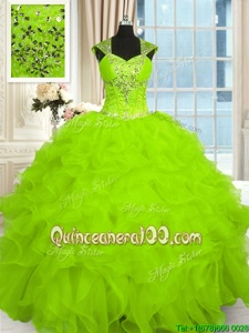 Wonderful Straps Cap Sleeves Organza Quinceanera Gown Beading and Ruffles Lace Up