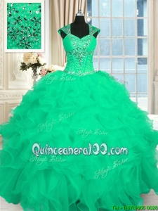 Top Selling Turquoise Straps Neckline Beading and Ruffles and Pattern Quince Ball Gowns Cap Sleeves Lace Up