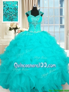 Luxury Aqua Blue Organza Lace Up Straps Cap Sleeves Floor Length Sweet 16 Dress Beading and Ruffles