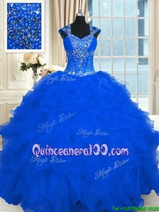 Hot Sale Royal Blue Quinceanera Dresses Military Ball and Sweet 16 and Quinceanera and For withBeading and Ruffles Straps Cap Sleeves Lace Up