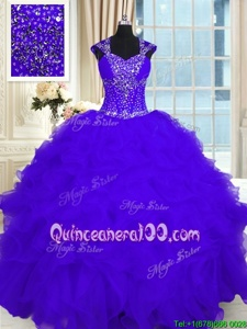 Best Floor Length Ball Gowns Cap Sleeves Purple Quinceanera Gowns Lace Up