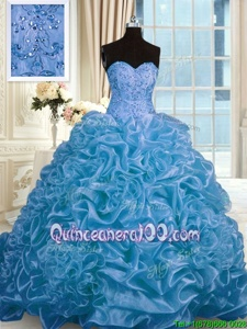 Stylish Organza Sweetheart Sleeveless Sweep Train Lace Up Beading and Pick Ups Sweet 16 Dress inBlue