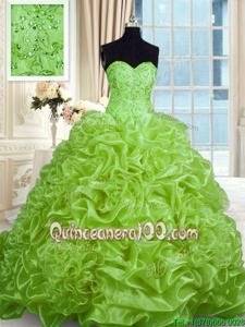 Sumptuous Spring Green Ball Gowns Sweetheart Sleeveless Organza With Train Sweep Train Lace Up Beading and Pick Ups 15 Quinceanera Dress