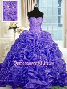 Comfortable Purple Ball Gowns Beading and Pick Ups Vestidos de Quinceanera Lace Up Organza Sleeveless