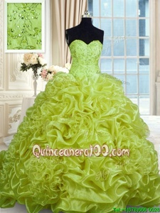 Luxurious Yellow Green Quinceanera Gown Military Ball and Sweet 16 and Quinceanera and For withBeading and Pick Ups Sweetheart Sleeveless Sweep Train Lace Up