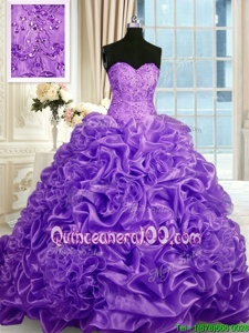 Ideal Pick Ups Sweetheart Sleeveless Sweep Train Lace Up Sweet 16 Dress Lavender Organza