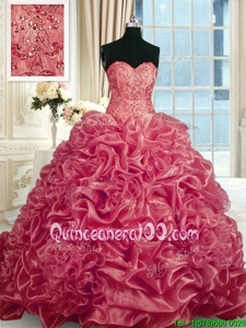 Excellent With Train Lace Up Sweet 16 Quinceanera Dress Red and In forMilitary Ball and Sweet 16 and Quinceanera withBeading and Pick Ups