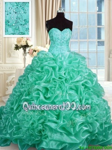 Spectacular Turquoise Sleeveless With Train Beading and Pick Ups Lace Up Quinceanera Dresses