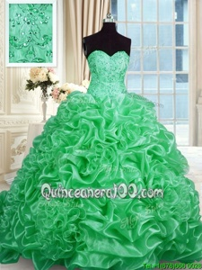 Most Popular Sweetheart Sleeveless Sweep Train Lace Up Sweet 16 Dresses Apple Green Organza