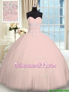 Fitting Pink Ball Gowns Tulle Sweetheart Sleeveless Beading Floor Length Lace Up Quince Ball Gowns