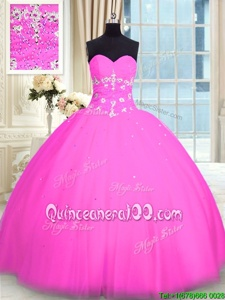 Cheap Pink Ball Gowns Sweetheart Sleeveless Tulle Floor Length Lace Up Appliques Sweet 16 Dress