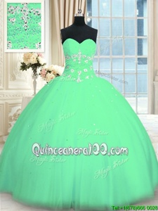 Extravagant Sleeveless Tulle Floor Length Lace Up 15 Quinceanera Dress inTurquoise forSpring and Summer and Fall and Winter withAppliques