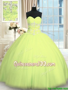 Sleeveless Floor Length Appliques Lace Up Quinceanera Dress with Yellow Green
