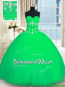 Fancy Green Sweetheart Neckline Appliques Sweet 16 Quinceanera Dress Sleeveless Lace Up