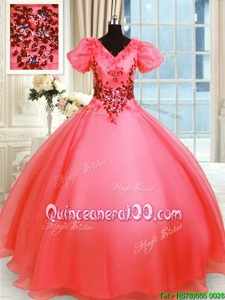 Captivating Short Sleeves Floor Length Appliques Lace Up Quinceanera Gown with Coral Red