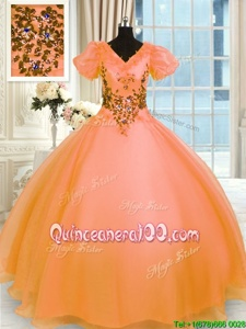 Fashionable Appliques 15 Quinceanera Dress Orange Lace Up Short Sleeves Floor Length