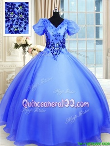 Admirable Spring and Summer and Fall and Winter Organza Short Sleeves Floor Length Quinceanera Dresses andAppliques