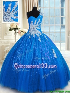 Wonderful Blue Lace Up One Shoulder Appliques Ball Gown Prom Dress Tulle and Sequined Sleeveless