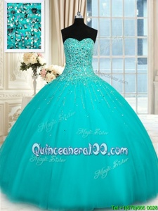 Adorable Sweetheart Sleeveless Quinceanera Dresses Floor Length Beading Turquoise Tulle