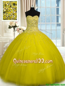 Custom Design Yellow Quinceanera Gown Military Ball and Sweet 16 and Quinceanera and For withBeading Sweetheart Sleeveless Lace Up