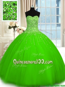 Attractive Spring Green Sleeveless Tulle Lace Up Sweet 16 Dresses forMilitary Ball and Sweet 16 and Quinceanera