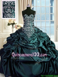 Luxurious Spring and Summer and Fall and Winter Taffeta Sleeveless Floor Length Quinceanera Dress andBeading and Embroidery and Pick Ups