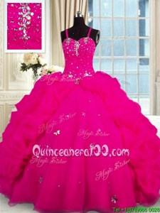 Spaghetti Straps Sleeveless Organza Quinceanera Gowns Beading Brush Train Lace Up