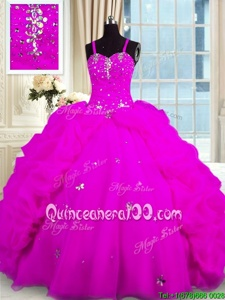 Fantastic Fuchsia Ball Gowns Beading and Pick Ups 15th Birthday Dress Lace Up Organza Sleeveless Floor Length
