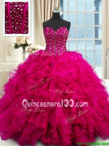 Low Price Sequins Ball Gowns 15th Birthday Dress Fuchsia Sweetheart Organza Sleeveless Floor Length Lace Up