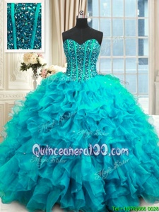 Baby Blue Sleeveless Beading and Ruffles and Sequins Floor Length Sweet 16 Dresses